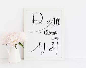 Do all things with love, Asian decor, Gift for women, Special gift, Romantic gift, Korean art