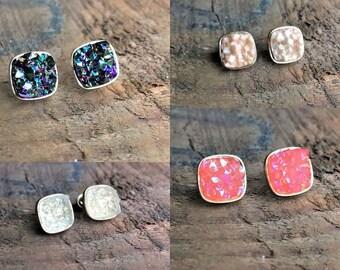 Druzy Square Earrings, Druzy Healing Earrings, Bohemian Earrings, Boho Gypsy, Gemstone earrings, crystal earrings, healing agate earrings