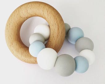 Teething Toy CLOUDY - Silicone and Beech Teething Toy Chunky Silicone Teething Ring - Baby Teether - Wooden Teether
