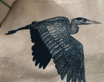 Tea Towel, Screen Printed Flour Sack Towel, Blue Heron, bird, handmade, eco-friendly, kitchen towel, dish towel