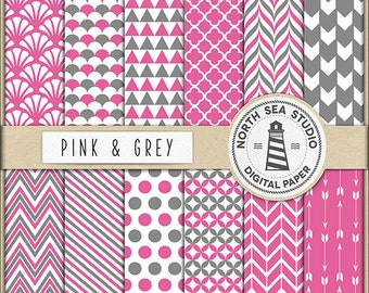 Rosa und grauen digitales Papier | Scrapbook Papier | Druckbare Hintergründe | 12 JPG, 300dpi-Dateien | BUY5FOR8