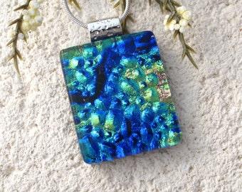 Petite Blue Green Gold Necklace, Dichroic Jewelry, Dichroic Necklace, Fused Glass Jewelry, Fused Glass Pendant, Glass Necklace, 100716p108
