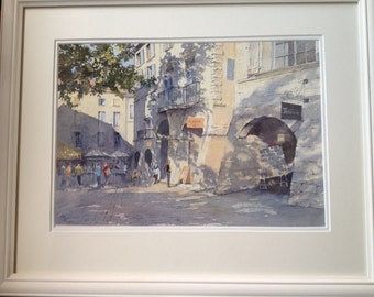 Watercolour Print of a Sunny Afternoon in Rural France