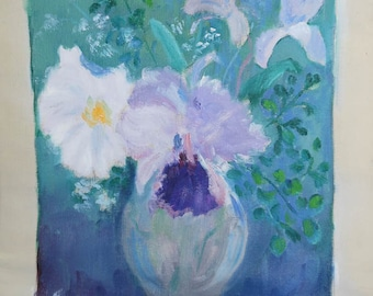 vintage oil painting on canvas of irises in vase signed