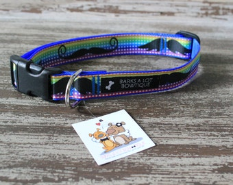 Adjustable Nylon Webbing Ribbon DOG Collar- Hand Made - Colorful MUSTACHES