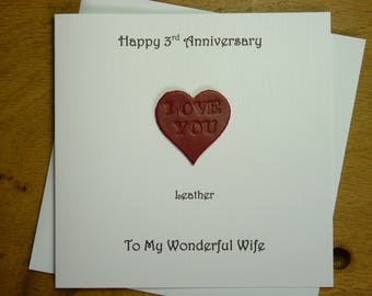 3rd wedding anniversary card leather three years gift 3rd anniversary