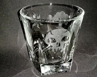 Magic Symbols Drinking Glass -Mana Nature Elements Etched