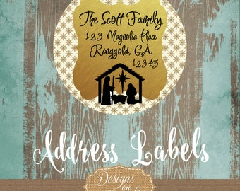 Christmas Address Label, Nativity Return label, Jesus is the Reason, Gold Glitter, Vintage, Return Address Labels
