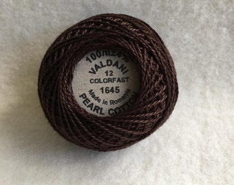 Valdani Thread Red Brown Dark, Color 1645, Size 12 Pearl Cotton Hand Dyed
