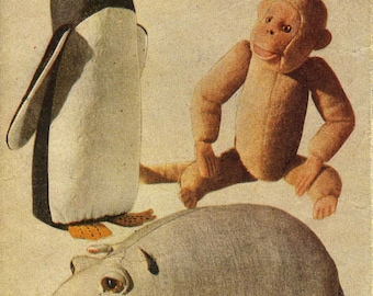Vintage Zoo-Land Toys, Includes; Monkey, Penguin, and Hippo, Sewing Pattern, 1950 (PDF) Pattern, Weldons 125