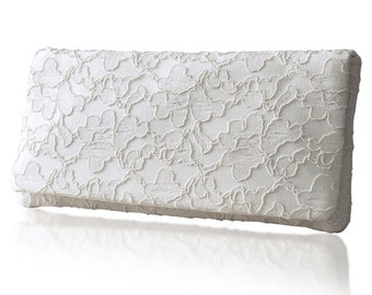 Ivory lace bridal wedding Astrid clutch purse, bridesmaids, mother of the bride