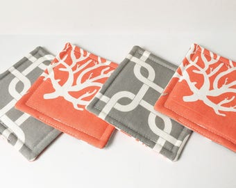 Coral Coasters Nautical Fabric Reversible Coasters Fabric Coasters Cotton Set of 4 Modern Home Decor