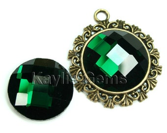 Mirror Glass Cabochon cab 20mm Round Checker Cut Faceted Dome -Emerald - 2pcs