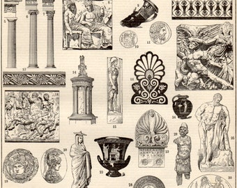 Greek Art, Antique Print, 1897 Lithograph, Greek, Sculpture, Ceramic, Greece, Neptune, Doric, Ionic, Corinthian, Column, Acropolis of Athens