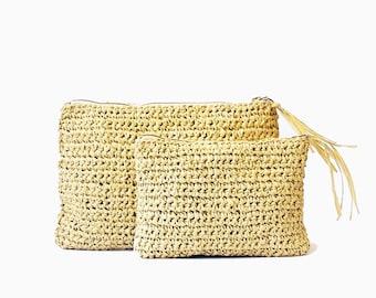 Natural straw clutch raffia crochet summer beach bag boho straw purse straw beach bag raffia woven clutch summer bag beach purse crochet