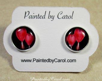 Bleeding Heart Earrings, Bleeding Hearts Jewelry, Bleeding Hearts Gifts, Red Flower Earrings, Bridesmaid Gifts, Wedding Jewelry, Bridal Gift