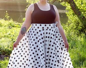 "Plus Size Maxi Skirt Polka Dot plus size High Waist / plus size  2 - 24 ) 42"" L"