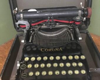 vintage corona typewriter 1920s, CORONA folding typwrighter