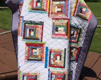 """MEMORIAL DAY SALE A Liberated 51.5"""" X 62.75"""" Courthouse Steps Scrap Quilt"""