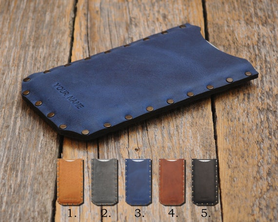 Fairphone 2 Cover. ENGRAVE YOUR Name Genuine Waxed Real Leather. Rough Style Sleeve Riveted Case Pouch.