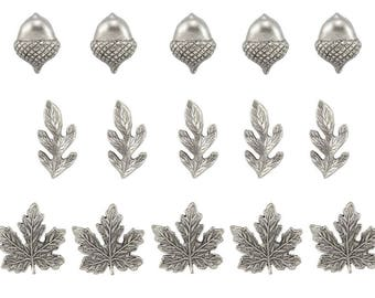 Leaves and Acorn Push pins  15pc ,**FREE SHIPPING**Usually Ships the Same Day **