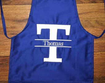 Childs Personalized Split monogram apron with 3 pockets. Will be customized to your liking.