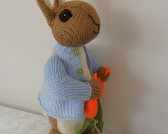 Inspired by Beatrix Potter's the tales of Peter Rabbit, hand knitted rabbit designed by Alan Dart, knitted by Liz