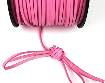 Pink 3 mm leather cord / 1 mm X 1 meter
