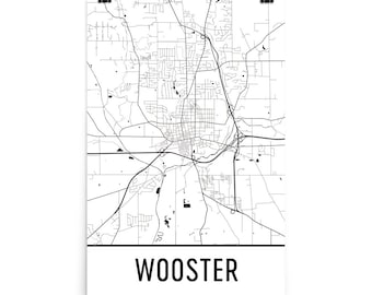 Wooster Map, Wooster OH Art, Wooster Print, Wooster Ohio Art Poster, Wooster Wall Art, Map of Wooster OH, Wooster Gift, Wooster Decor, Map