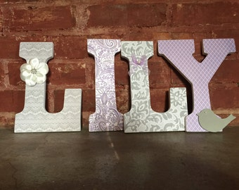 Custom decorative wooden letters, nursery decor, girls room, purple and gray theme, wooden name