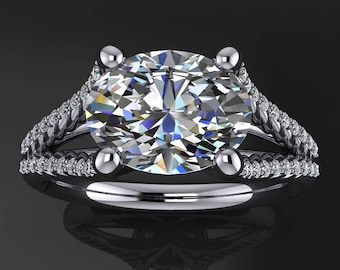 harper ring - 2 carat oval cut ZAYA moissanite engagement ring, east west engagement ring