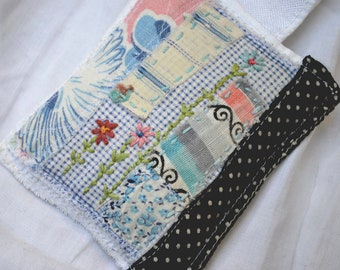 Lavender sachet with vintage quilt textile