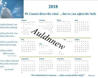 2018 Calendar with Inspirational Quotes CALENDAR  Download Original Photo Art