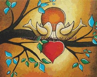Forever Love Cross Stitch Kit, NEW,  Helen Janow Miqueo Art, Counted Cross Stitch, Love Birds, Love Heart, Modern Art Cross Stitch,