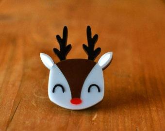 Brooch - Reindeer Christmas Brooch - Christmas Jewellery Jewelry - Reindeer Gift - Stocking Stuffers Stocking Fillers - Reindeer Pin