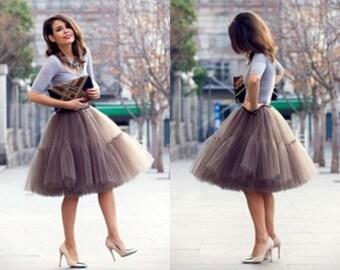 Mocha Very Fluffy Full Layered Petticoat Tulle Skirt Tutu Bridesmaid, Wedding, Flower Girl Gown