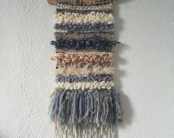Weave - Woven wall hanging - wall decor - weaving ecru blue beige - Wovenwallhanging