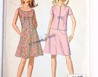 Misses Fit and Flare A-Line Dress and Short Sleeve Lined Jacket Vintage Sewing Pattern Jiffy Simplicity 7125 Size 10 Bust 31