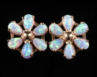Opal Gold Stud Earrings 3ct