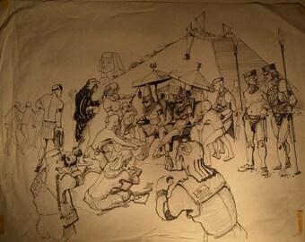 "Vintage Randy Culbertson ""Egyptian"" Product Concept Design Illustration Sketch"
