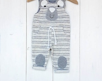 Baby Boy Baby Girl baby Bib Overalls, Dungarees, rows with bear, plush Jumpsuit for baby, Little Bear Baby Romper