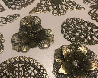 20 antique bronze findings, Metal embellishments, Filigree embellishments, jewellery findings, Mixed Media Embellishments, metal findings