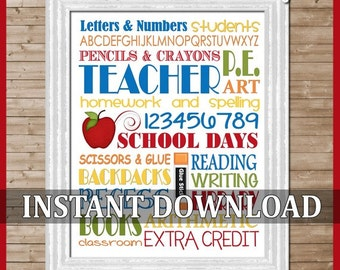 Teacher School Days Subway Art -  Printable INSTANT Download