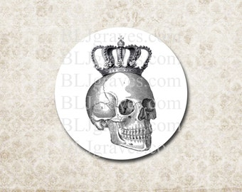 Halloween Goth Stickers Skull Crown Party Favor Treat Bag Stickers Envelope Seals  SH017