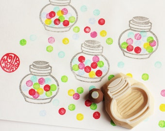 bubble gum jar rubber stamp set | candy glass container stamps | diy birthday christmas card making | hand carved by talktothesun | set of 2