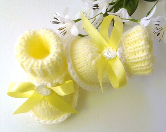 Yellow Knitted Baby Booties, Hand Knitted Baby Booties, Yellow Crib Shoes, Knitted Newborn Girl Booties, Daddy To Be Gift, Baby Shower Gift