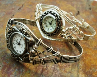 WATCH - Sterling Silver Wire Wrapped Watch Bracelet, Unique, Women's, Artisan Bracelet,  Made To Order 7720