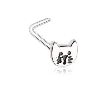 Adorable Kitty Cat L-Shaped Nose Ring