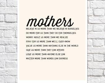 Cadeau de fête des mères de fille maman poème mère impression typographique en droit mariage cadeau anniversaire Maman maternité Wall Art mère de la mariée