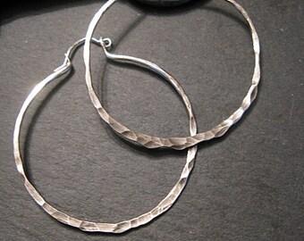 Hammered Silver Hoop Earring Silver Hoops Big Hoops Big Silver Hoops Large Hoop Earring Boho Earring Gifts Under 50 Hinge Minimalist